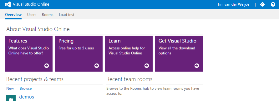 Visual Studio Online Startpage - after Login